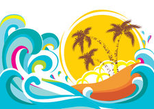 Vector tropical island with waves Royalty Free Stock Photo