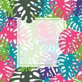 Vector tropical leaves frame. Template, print, mock up, background. Summer design. Tropical leaf print vector illustration