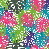 Vector seamless trendy pattern with tropical leaves, summer design royalty free illustration