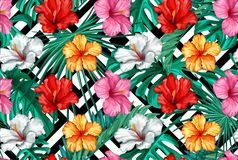 Vector tropical leaves hibiscus seamless pattern. Vector tropical leaves hibiscus flower blossom summer seamless pattern geometric background template. Jungle