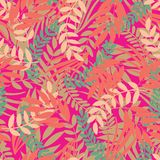 Vector tropical leaves seamless pattern on bright pink background stock illustration