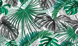 Vector tropical leaves seamless pattern. Vector tropical leaves realistic seamless pattern on a white background. Trendy summer decoration for your poster Stock Image