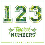 Vector tropical numbers for t-shirts, posters, card and other uses. Sport chic. Trendy style Royalty Free Stock Photography