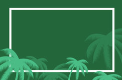 Vector tropical palm leaf border. Summer Palm tree leaves around a border. Vector background for text. Banner elements. Stock Image