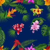 Vector tropical palm leaves and exotic flower elements pattern Stock Photos