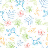 Vector Tropical Pastel Drawing Flowers Seamless Royalty Free Stock Photo