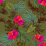 Vector tropical pattern with palms and hibiscus flower. Vector tropical camouflage pattern. Khaki background and plants, beautiful flowers. red hibiscus with Royalty Free Stock Image