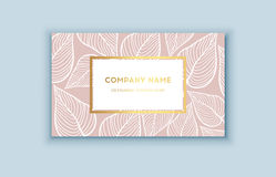 Vector tropical pink and gold business card. Exotic design for cosmetics, spa, perfume, health care products. Royalty Free Stock Photography