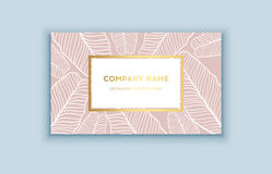 Vector tropical pink and gold business card. Exotic design for cosmetics, spa, perfume, health care products. Royalty Free Stock Photo