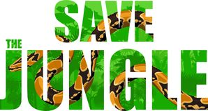 Vector tropical rainforest illustration with boa python. Save the jungle Stock Photo