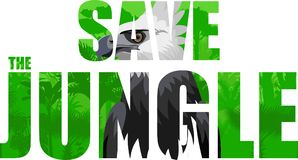 Vector tropical rainforest illustration with harpy eagle. Save the jungle Stock Photos