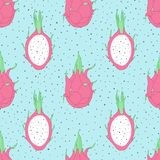 Vector tropical repeat pattern with dragon fruit on the blue dot Royalty Free Stock Photo