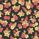Vector tropical repeat pattern with orchid, hibiscus and bird of Stock Photos