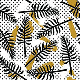 Vector tropical seamless pattern with exotic plants on simple abstract background Royalty Free Stock Photography