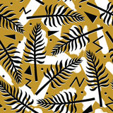 Vector tropical seamless pattern with exotic plants on simple abstract geometric background Stock Photography