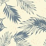 Vector tropical seamless pattern. Vintage tropical seamless pattern with silhouettes of leaves. Vector background Royalty Free Stock Image
