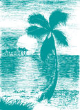 Vector tropical summer blue illustration with palm tree and isla Stock Photos