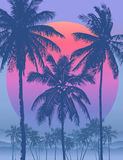 Vector Tropical sunrise. Tropical sunrise with pink gradient sun and silhouette of palm trees and mountains in the background of blue sky Stock Photo