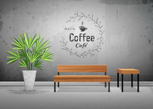Vector tropical tree in cement pots with wooden chair. In coffee cafe wallpaper background, illustration Royalty Free Stock Photo