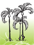 Vector tropical trees. Vector hand draw image of tropical trees - protect our planet stock illustration