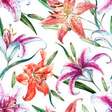 Vector tropical watercolor lilly pattern Stock Photography