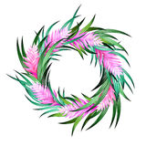 Vector tropical wreath. With heliconia and exotic leaves Stock Photography