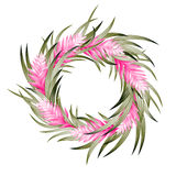 Vector tropical wreath. With heliconia and exotic leaves Royalty Free Stock Image