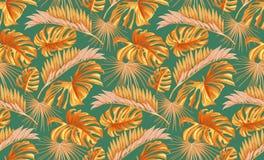 Vector tropisch bladeren naadloos patroon Stock Afbeeldingen