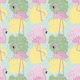 Vector tropisch exotisch naadloos patroon met flamingo Royalty-vrije Stock Afbeeldingen
