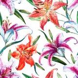 Vector tropisch waterverf lilly patroon royalty-vrije illustratie