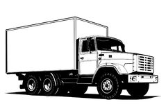 Vector truck outline template isolated on white Royalty Free Stock Photography