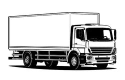 Vector truck outline template isolated on white Stock Photo