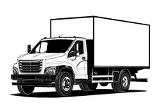 Vector truck outline template isolated on white Royalty Free Stock Images