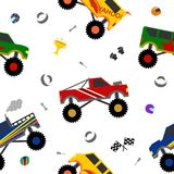 Vector truck seamless pattern for decoration. Scrapbooking, printing on fabric, banner, greeting card, sale, gift wrap, promotion, party poster. cute kids auto Stock Photo