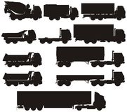 Vector truck silhouettes set. Vector Kamaz truck silhouettes set isolated. Availavle EPS-8 vector format separated by layers Stock Photography