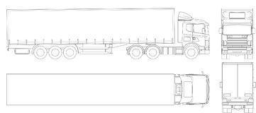 Vector truck trailer outline. Commercial vehicle. Cargo delivering vehicle. View from side, front, back, top. Vector illustration royalty free illustration