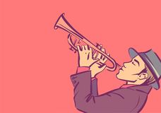 Vector trumpeter, cartoon style isolated illustration of trumpet player. Handsome man playing on trumpet stock illustration