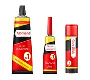 Vector tubes of glue - adhesive stick, super and moment paste for repair, fixing, instant gluing. Promotion illustration vector illustration