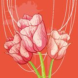 Vector tulip background with peal beads Royalty Free Stock Image