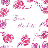 Vector tulip save the date card. Vintage background with hand drawn tulips  for wedding design. Stock Photo