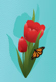 vector tulips and a butterfly Royalty Free Stock Photos
