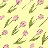 Vector tulips seamless pattern for Womens day. Flower isolated elements. For design, card, print or background Royalty Free Stock Image