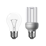 Vector tungsten and energy saving lightbulb. On white background Stock Photography