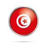 Vector Tunisian flag Button. Tunisia flag in glass button style. Stock Image