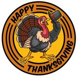 Turkey cartoon character holding the hat for thanksgiving celebr Stock Images