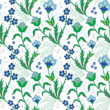 Vector Turkish Field Flowers Seamless Pattern Stock Images