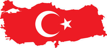 Vector Turkish map with flag. Royalty Free Stock Images