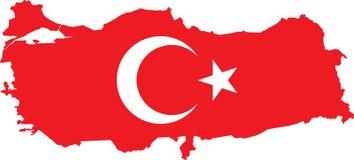 Vector Turkse kaart met vlag. Royalty-vrije Stock Afbeeldingen