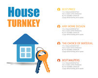 Vector turnkey illustration. Vector icon key. house turnkey. turnkey illustration. House turnkey Flat design style stock illustration