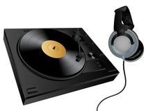Vector turntable and headphones. Vector isolated image of turntable and earphones Stock Image